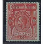 Stamp, Falkland Islands, King George V 10/- red, mint (never hinged) catalogue value £190