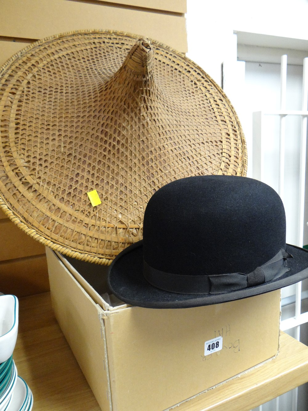 A Vintage Austin Reed Bowler Hat Two Chinese Wicker Field Workers Hatscondition Report The Hats