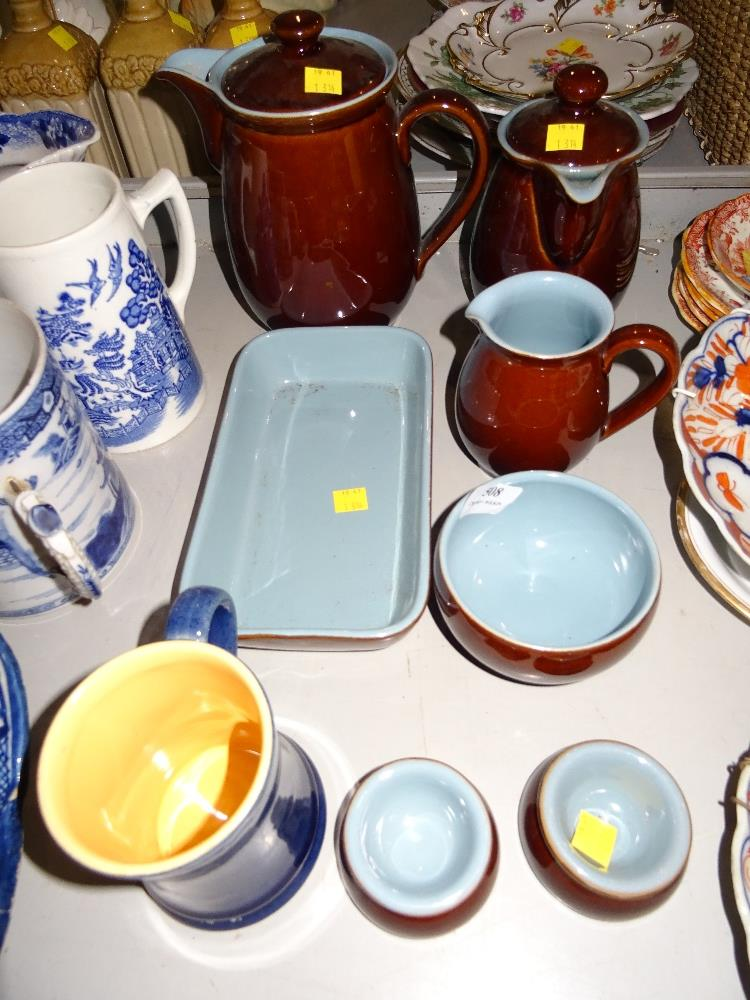 Lot 508 - EIGHT PIECES OF DENBY WARE INC TEAPOT, COFFEE POT, MILK, SUGAR,