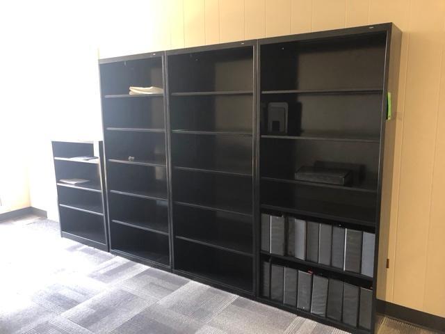 "Lot 1009 - (4) Metal Book Shelves (3) 35"" x 78""x 13""; (1) 34""x 13."