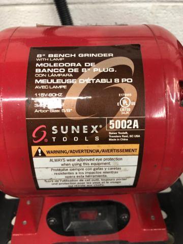 "Lot 1059 - Sunex 8"" Model 5002A Pedestal Type Double End Bench Grinder, Power 115v-80hz, 3/4hp, 3450, Airbor Si"