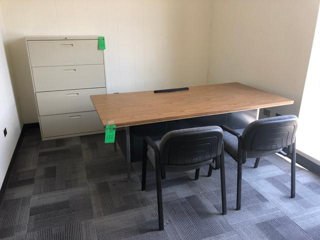 "Lot 1002 - Office Furniture,To include: (1) 2 Drawer Wood Desk with Metal Base 29"" x 78""x 29""; (1) 4 Drawer Met"