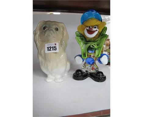 Lladro Pekingese Dog, 14.5cm high; Murano glass clown. (2)