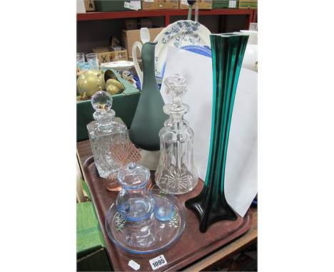 Mallet and Whisky Decanters, Italian style ewer, Art Deco style pink glass scent bottle, etc:- One Tray