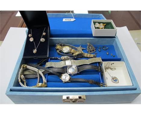 Swarovski Brooch, ladies watched including - Tasa digital. Ingersoll, Newtime, Sekonda; Army Ordnance badge, 9ct gold earring