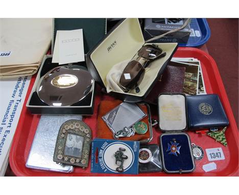 Postcards, silver and enamel medal, badges, sunglasses, Dalvey flask, mosaic photo frame, etc:- One Tray