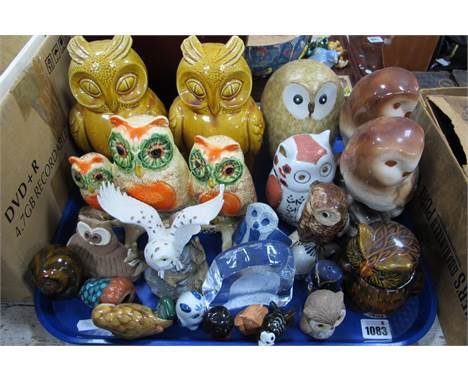 Owls - Two pottery money boxes, glass paperweight, etc:- One Tray