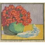 """W. Dräger, """"Stillleben mit Schale und Beeren"""", 1923, Linolschnitt, unten rechts signiert und"""