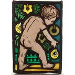 """Bleiverglasung, """"Weihnachtstraum"""", im Stil von Änne Koken (*1885- †1919, Hannover), um 1910, H*B"""