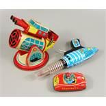 3 Teile Blechspielzeug, um 1970: Wal-Feuerkanone (Wal und Harpunen nicht vorhanden), Modell-Nr.