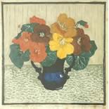 """Dagmar Hooge (1870-1930), """"Kapuzinerkresse in Vase"""", um 1910, Farbholzschnitt, unten rechts"""