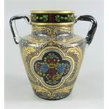 Henkelvase, Pausch, Hermann, Arnsdorf 1915/20, H.11,8cm, farbloses Glas, formgeblasen und frei