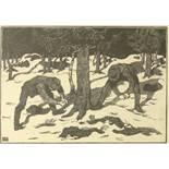 "Aage Roose (1880, Kolding/DK-1970), ""Waldarbeiter"", um 1910, Holzschnitt/Japanpapier, unten links im"