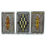 3 Bleiverglasungen mit Ornamenten, um 1900, H*B 15,5*9,7cm, ein Paar mit gelb-braunem Ornament, 1*