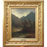 """Joseph Bernardi (1826, Düsseldorf - 1907, ebd.), """"Reisigsammlerin auf Gebirgspfad"""", 1853, Öl/"""
