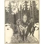 "Aage Roose (1880, Kolding/DK-1970), ""Holzkohlenwagen"", um 1910, Holzschnitt/Japanpapier, unten links"