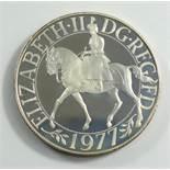 Gedenkmünze, Großbritannien 25 Pence, 1977, 25 Jahre Regierungszeit, Kupfer-Nickel-Legierung, vz, im