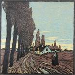 "Carl Theodor Tiemann (1881, Karlsbad/CZ-1966, Hebertshausen), ""Spätherbst"", 1913, Farbholzschnitt,"