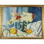 """undeutlich signiert """"Blumenstillleben mit Äpfeln"""", 1930er Jahre, Öl/Leinwand, unten rechts signiert,"""