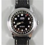Armbanduhr Oris Pointer Date, 302-7376, Schweiz, wohl 80er Jahre, verchromtes Gehäuse, schwarzes
