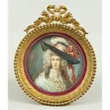 "Miniaturmalerei ""Dame mit Federhut"", monogrammiert ""P.CL.""? Biedermeier, um 1830/40, H*B mit"