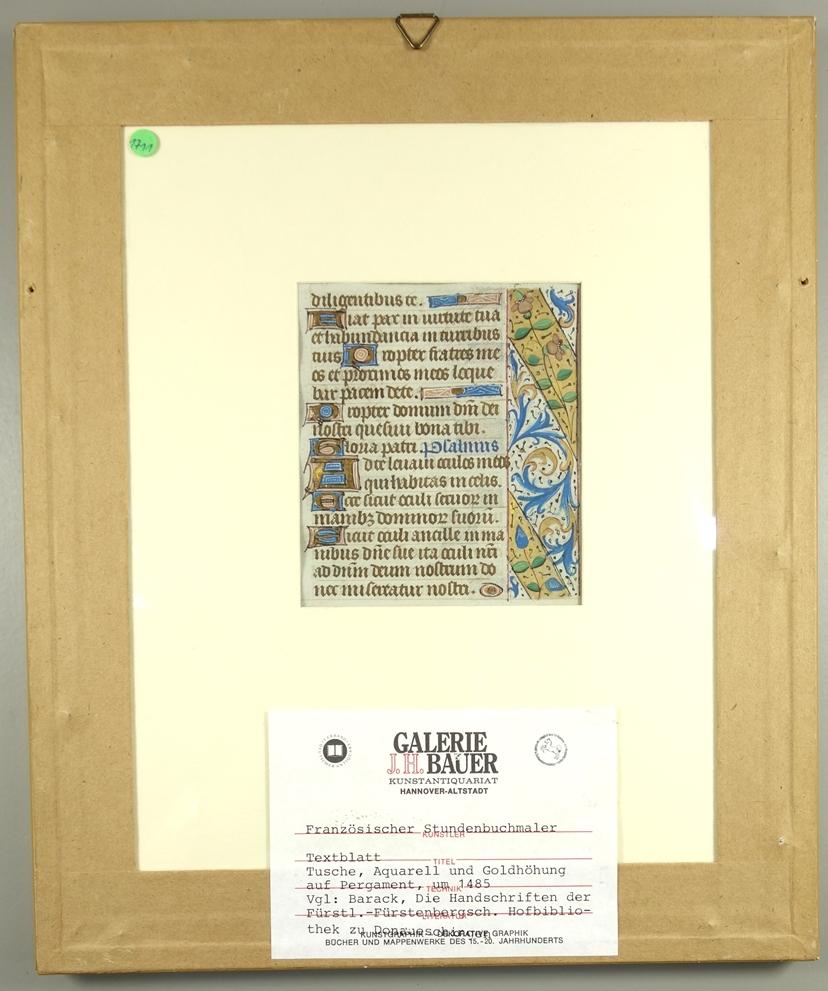 Textblatt aus Stundenbuch, Frankreich, um 1485, Tusche, Aquarell und Goldhöhung/Pergamentpapier, - Bild 2 aus 2