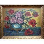 """K. Lützow, """"Stillleben mit Sommerblumen"""", 1918, Öl/Leinwand, unten links signiert und datiert,"""