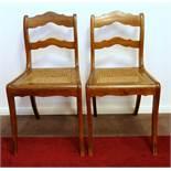 Paar Stühle, Louis Philippe, Nussbaum, Sitzfläche mit Korbgeflecht, Sitz-H.46cm, Lehnen-H.85cm,