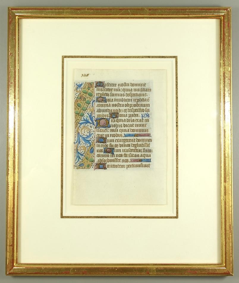 Textblatt aus Stundenbuch, Frankreich, um 1485, Tusche, Aquarell und Goldhöhung/Pergamentpapier,