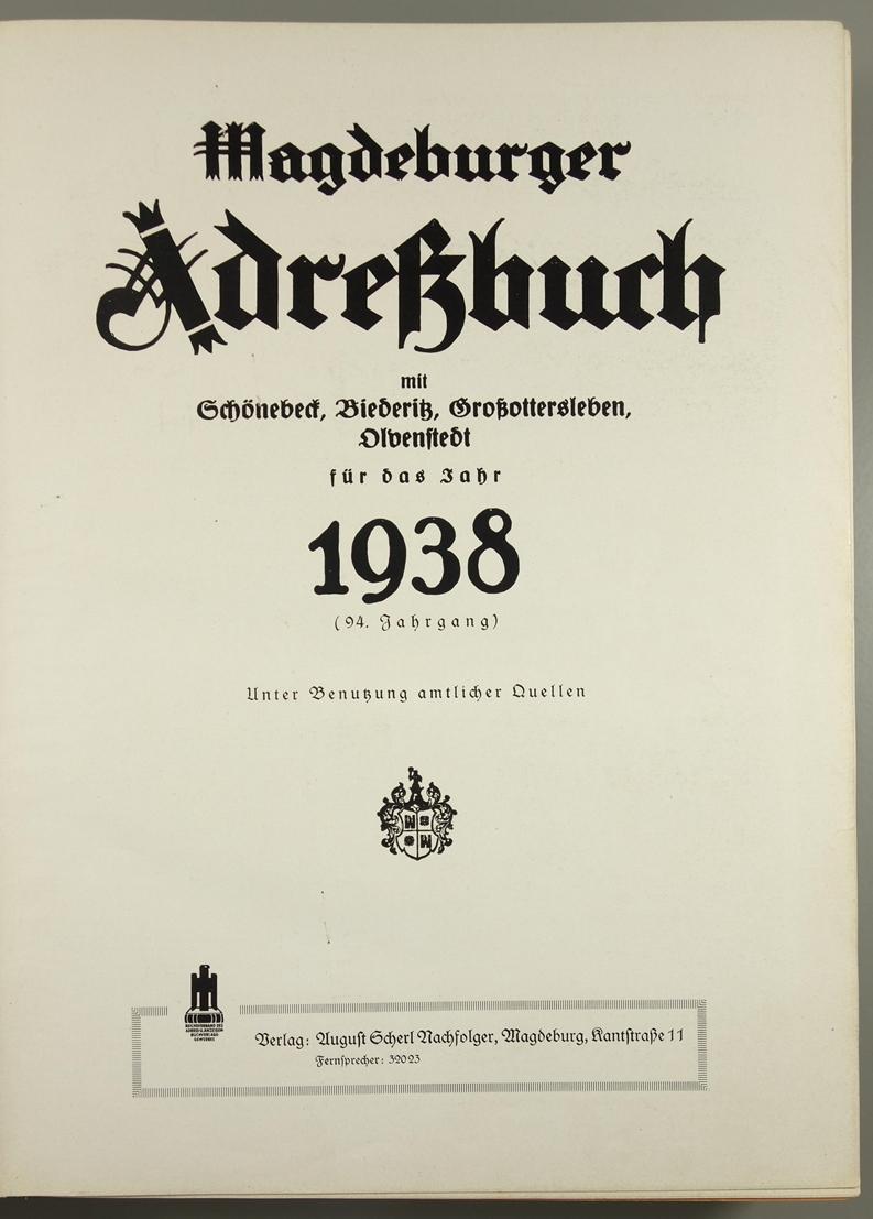 Magdeburger Adressbuch, 1938, mit Schönebeck, Biederitz, Großottersleben, Olvenstedt; 94.Jahrgang, - Bild 2 aus 2