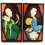"""Paar Bleiverglasungen """"Barocke Damen"""", um 1900, H*B 34,8*19,3cm, Frauen mit Pompadourfrisuren,"""