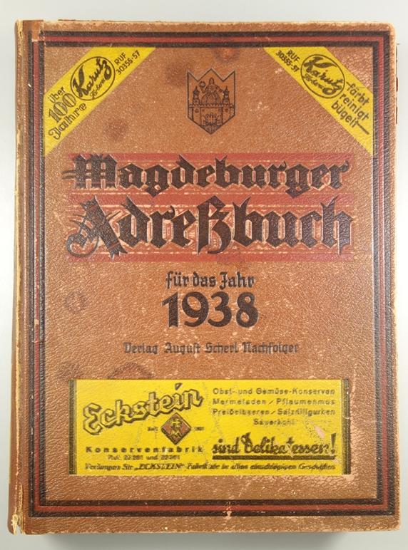 Magdeburger Adressbuch, 1938, mit Schönebeck, Biederitz, Großottersleben, Olvenstedt; 94.Jahrgang,