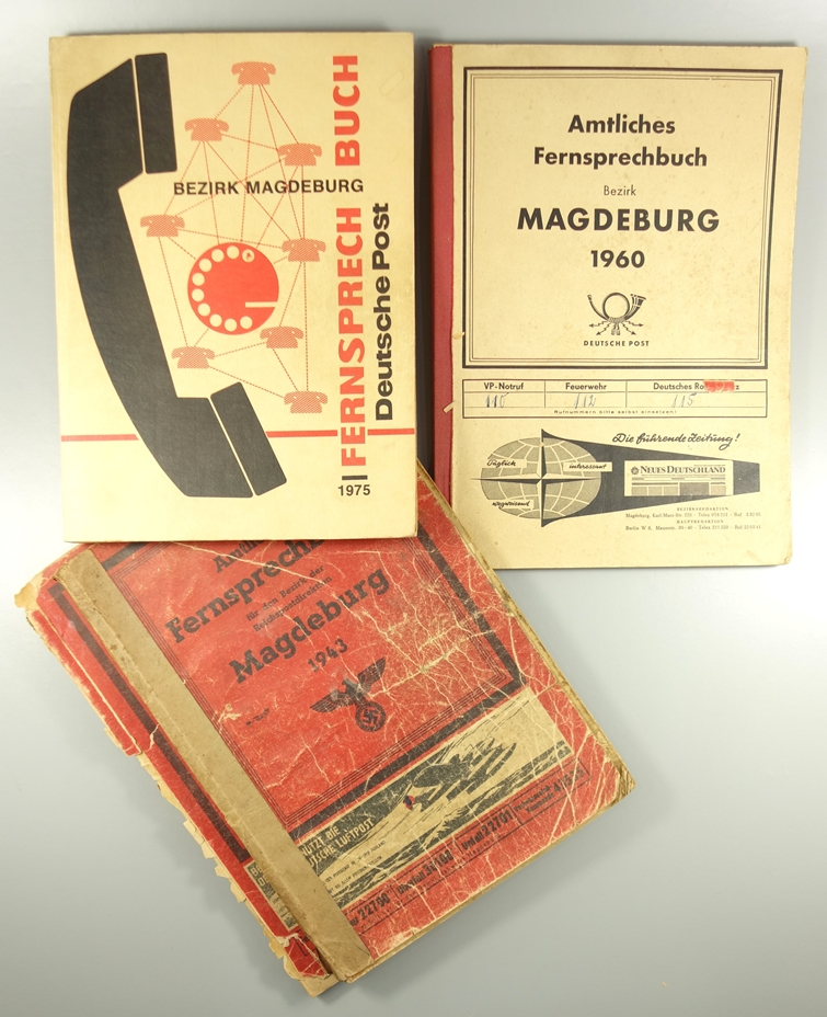 """4 Fernsprechbücher, Magdeburg: 2* """"Amtliches Fernsprechbuch für den Bezirk der Reichspostdirektion"""