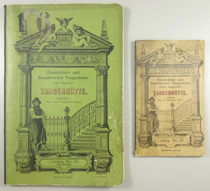 """2 Kataloge """"Eisenhütten- und Emaillirwerk Tangerhütte"""", Nr. 14 und Nr.22, um 1900, Franz"""