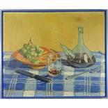 """F. Fébron (?), """"Stillleben mit Trauben und Wein"""", Öl/Leinwand, 1930er Jahre, unten links signiert,"""