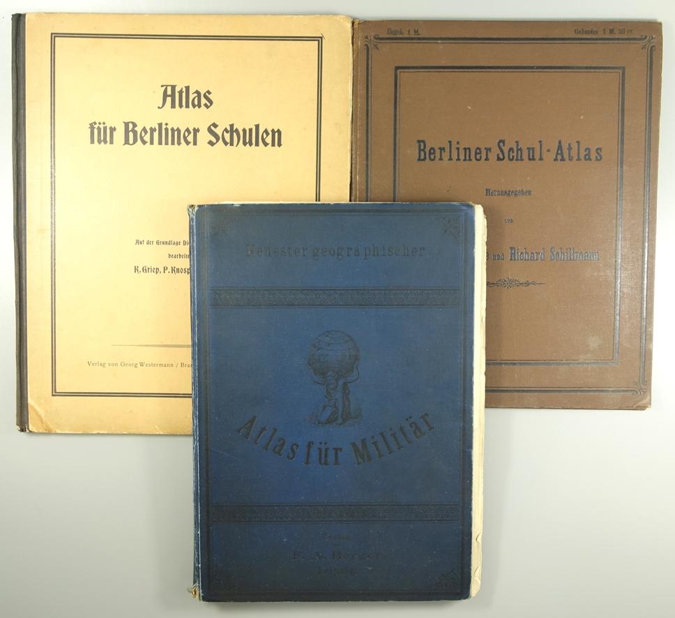 3 Atlanten: Neuester geographischer Atlas für Militär, hrg. Dr.O.Richter, Verlag von F.A.Berger,