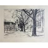 """2 Lithografien """"Magdeburger Domplatz"""", 1989, jeweils signiert, datiert ´89 (1989), Auflage 6 und 7 /"""