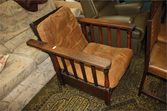 Cool A Circa 1920 Oak Framed Reclining Steamer Type Armchair With Machost Co Dining Chair Design Ideas Machostcouk