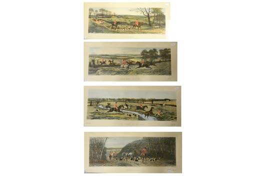 Hunting Four Glazed And Framed Prints from painting by E A S Douglas ...