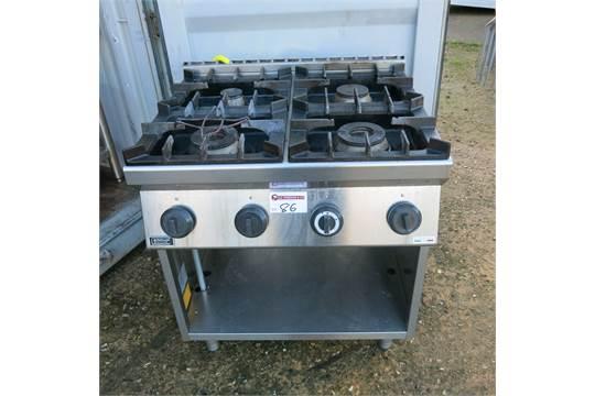 Emmepi grandi cucine ring gas range cooker on stainless steel