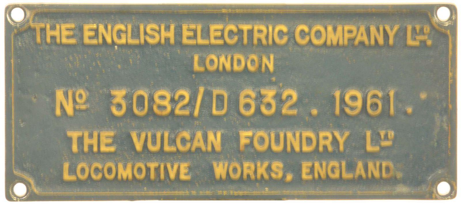 Lot 3 - Railway Locomotive Worksplates (Diesel), EE, 3082, D632. 1961 (40136): A worksplate, ENGLISH