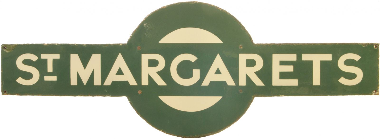 Lot 28 - Railway Station Target Signs, St Margarets: A Southern Railway target sign, ST MARGARETS, a