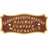 Lot 21 - Railway Wagonplates, Glasgow & South Western Railway, 1913: A Glasgow and South Western Railway