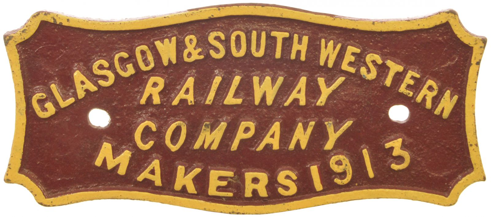 Lot 21 - Railway Wagonplates, Glasgow & South Western Railway, 1913: A Glasgow and South Western Railway