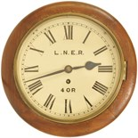 Lot 17 - Railway Clocks and Watches, LNER 10'' Roundhead: A mid-20th century 10 inch mahogany roundhead