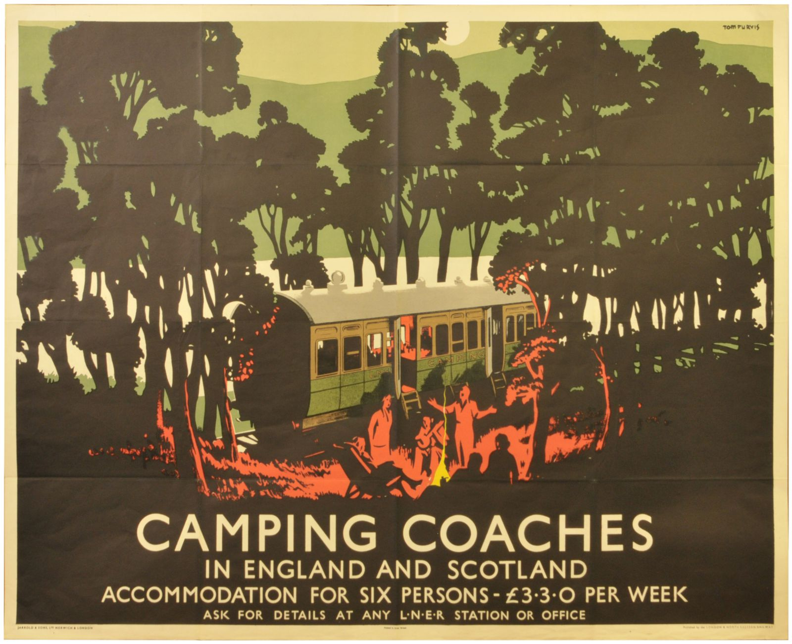 Lot 19 - Railway Posters, Camping Coaches, Purvis, LNER: An LNER quad royal poster, CAMPING COACHES, by Tom