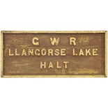 Lot 5 - Railway Station Direction Signs, GWR, Llangorse Lake Halt: A Great Western Railway station