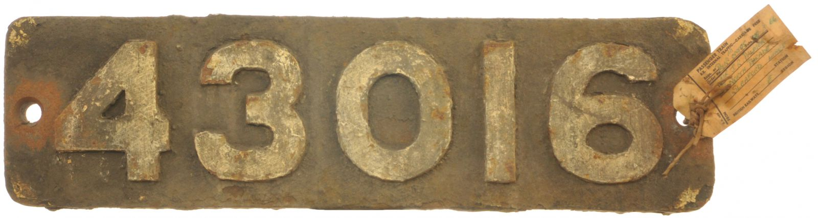 Lot 60 - Railway Locomotive Smokebox Numberplates, 43016: A smokebox numberplate, 43016, from a LMS Class 4
