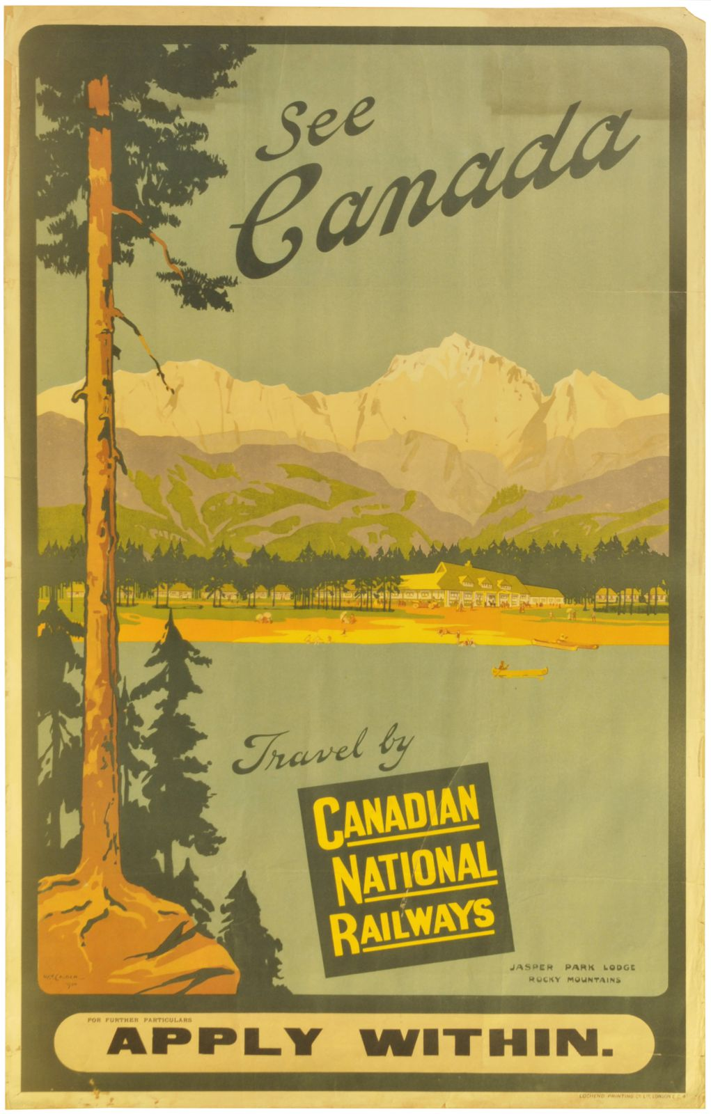 Lot 49 - Railway Posters, Canada, Calder, CNR: A Canadian National Railways double royal poster, JASPAR LODGE
