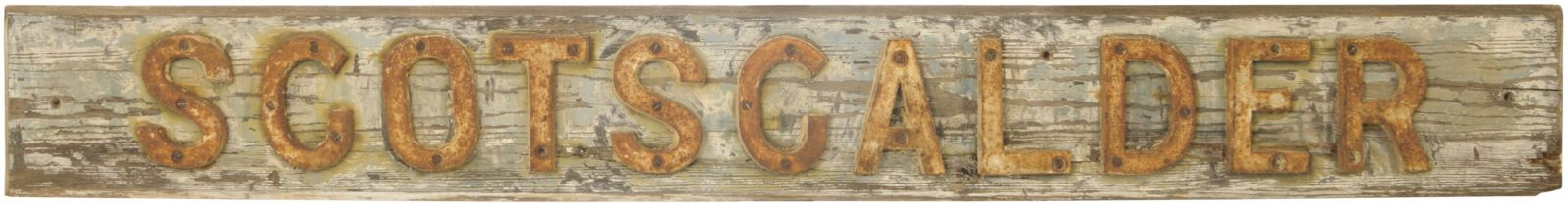 Lot 31 - Railway Signal Box Nameboards, Scotscalder: A signal box name board, SCOTSCALDER, from a remote